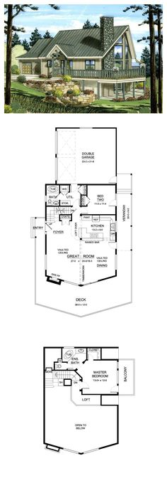 Hillside House Plan 96212 | Total Living Area: 1489 sq ft, 2 bedrooms & 2 bathrooms. The welcoming and rustic façade complete with fieldstone fireplace and plenty of outdoor living area makes a good first impression. #houseplan #hillsidehouse