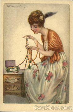 Art Deco Lady with Jewelry Italy 985-2 - Sergio Bompard