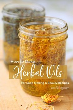 How to Make Herbal Oils for Soap Making and Beauty Recipes - Infusing oil with herbs is a great way to add color, scent, and beneficial properties to natural skin care and soap recipes. As the basis of home skin care recipes starts with good quality oils, Make Beauty, Beauty Care, Beauty Skin, Beauty Hacks, Beauty Ideas, Beauty Secrets, Beauty Guide, Natural Beauty Recipes, Bath Melts