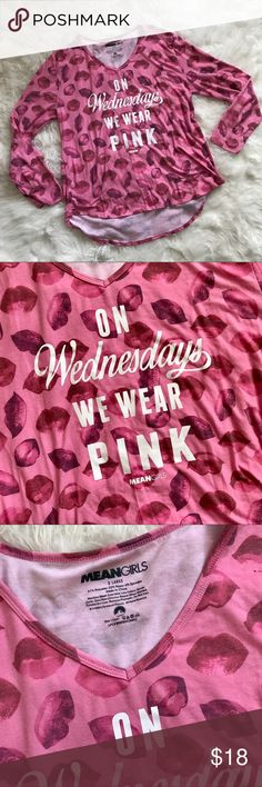 MEAN GIRLS WEDNESDAY WE WEAR PINK BLOUSE TOP XL This graphic long sleeve top is so fun to wear! Relaxed fit, with classic iconic quote from the all American girl movie! Perfect to wear with light wash jeans! Perfect to wear all season long! Great condition, like new! Tops Tees - Long Sleeve