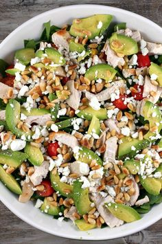 Spinach Salad with Chicken, Avocado and Goat Cheese : best salad recipe I've ever eaten. Great recipe to take to potluck gathering too... everyone will ask for the recipe!