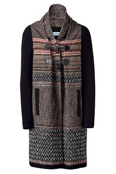 PHILOSOPHY DI ALBERTA FERRETTI  Brown/Cream Multi Color Long Knitted Coat