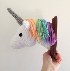 Unicorn Faux Taxidermy Crocheted 5x7 by TheCrookedSpruce on Etsy