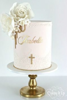 Plan a memorable christening party with these unique Baptism Party Ideas. Get fun ideas for baptism cakes and desserts, decorations, favors, and more. Christening Cake Girls, Baby Girl Baptism, Baptism Party, Baptism Cakes For Girls, Baptism Ideas, Simple Baptism Cake, Comunion Cakes, Religious Cakes, Religious Symbols