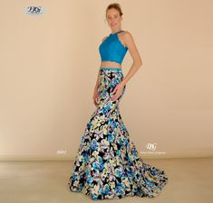 Two-Piece Floral Pattern Mermaid Formal Gown in Aqua Blue Style 8601 by Miracle Agency Mermaid Skirt, Mermaid Gown, Formal Evening Dresses, Formal Gowns, Two Piece Gown, Mermaid Silhouette, Bridal And Formal, Blue Style, Lace Crop Tops