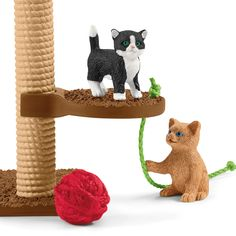 Leikkihetki söpöjen kissojen kanssa 42501 Farm World | Schleich GmbH World Play, Scratching Post, Head Start, Age 3, Cats And Kittens, Cute Cats, Kids, Number, Wool