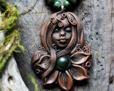 Nature Goddess Necklace with Ruby in Fuchsite. by TRaewynJewelry
