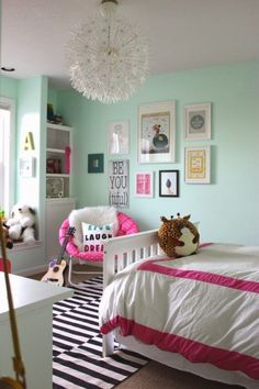 You know, I still see hints of a little girl and that is why love this tween bedroom makeover. Another hot item, is that kid's bedroom chandelier! How cool is that? Inspiring Teenage Bedroom Ideas on Frugal Coupon Living.