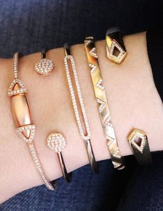 Anyone that knows me knows I'm always wearing 4 or 5 cuffs at a time! Do you prefer solo or stacked? #diamonds #cuffs #danarebecca