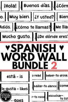 Must have visual resource for Spanish class!.3 Spanish word walls to visually support students on assignments all year long!.Makes a great background for online classes! Includes Spanish greetings, high frequency verbs. Spanish Word Wall, Spanish Words, Spanish Classroom Decor, Classroom Walls, Spanish Vocabulary, Vocabulary Games, Spanish Lesson Plans, Spanish Lessons, Spanish Bulletin Boards