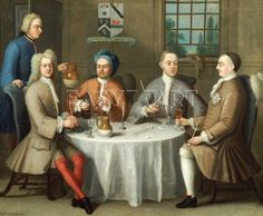 A Group Portrait Of Sir Thomas Sebright, Sir John Bland And Two Friends, 1723, by Benjamin Ferrers