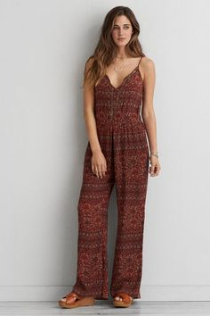 American Eagle Outfitters AEO Lace-Up Front Jumpsuit