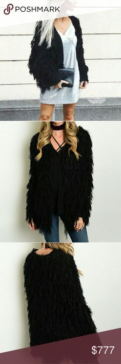 "💋HP💋'ALEXIA' Black shag knitted cardigan Brand new without tags  Boutique item  Price is firm   She's got this one covered. The Got It In the Shag Cardigan in black features a thick cable knit design, cardigan silhouette, and whisical shag detail throughout!! I am in love with this piece!!  Small Bust 20.5 across/ Length 28"" Medium Bust 21""across/ Length 28"" Large Bust 22""across/Length 28"" Material 60% cotton/40%acrylic    Sweaters Cardigans"