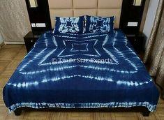 Indigo Tie Dye Bedding Set Handmade Shibori Queen Bedspread With 2 Pillow Cover Cotton Bedding Sets, Queen Bedding Sets, Duvet Sets, Bed Sets, Kantha Quilt, Shibori, Jaipur, Bed Covers, Pillow Covers