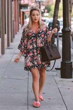 Blondie in the City   Floral Spring Dress   Sam Edelman Sandals  Pink Bow Shoes   YSL Bag