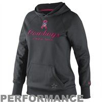 Nike Dallas Cowboys Ladies Breast Cancer Awareness All Time Pullover Performance Hoodie - Anthracite