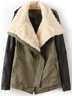 Army Green Faux Fur Lapel Contrast Leather Sleeve Trench Coat US$68.85