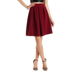 Charlotte Russe Pleated Midi Skater Skirt ($27) ❤ liked on Polyvore featuring skirts, mini skirts, wine, short mini skirts, white skirt, pleated midi skirt, pleated skirt and circle skirt
