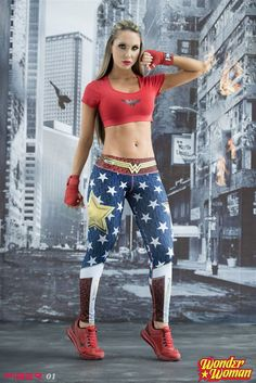 Wonder Woman - Super Hero Leggings - Fiber - Roni Taylor Fit  - 1 These Wonder Woman Super Hero Leggings from Fiber are great for working out, casual wear or even dressing up for Halloween. You will love these exclusive leggings that are made from the highest quality materials to make sure they look great, feel even better and last longer than you ever thought possible. Limited Edition and once they are sold out they will not be back again!