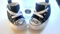 skull and crossbones swarovski crystal covered baby converse with matching pacifier