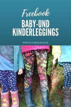 Freebook für eine Baby- und Kinderleggings in den Größen 44-116, das du als Geschenk auch im Partnerlook Kind & Puppe nähen kannst. Ein kostenloses Schnittmuster von K-Nähleon