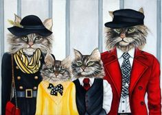 Cats in Clothes Custom Portraits The Coon Family by k Madison Moore, painting by artist k. Madison Moore