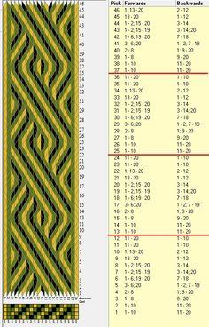 Trenza 3D 20 tarjetas, 3 colores, repite cada 12 movimientos // sed_732 diseñado en GTT༺❁ Inkle Weaving, Inkle Loom, Card Weaving, Weaving Art, Tablet Weaving Patterns, Loom Patterns, Finger Weaving, Lace Weave, Woven Belt