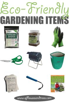 Eco-Friendly Garden   'Tis the season! For gardening that is. Here are nine eco-friendly garden items - from seeds to shears - that every green thumb needs. Click through to read more on this project as well as posts about architecture, interior design and sustainability at www.ofhousesandtrees.com