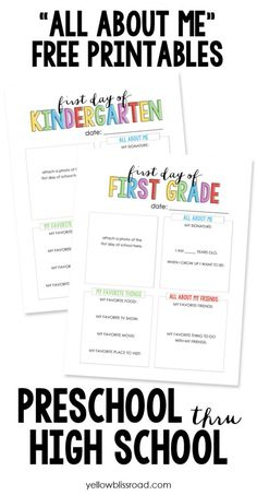 "Back To School ""All About Me"" Free Printables"