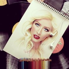 Christina Aguilera drawing from Instagram.