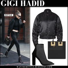 Gigi Hadid in black bomber jacket and black mesh ankle boots