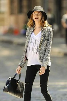 Love the graphic tee with a sweater for Fall