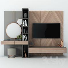models: Other - TV Wall set 07 Bedroom Tv Wall, Room Design Bedroom, Bedroom Furniture Design, Home Room Design, Wall Tv, Tv Unit Bedroom, Tv Furniture, Ikea Bedroom, Master Bedroom