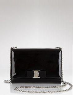SALVATORE FERRAGAMO Patent Miss Vara Bow Mini Bag
