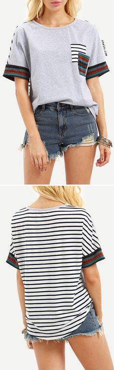 Short Sleeve Stripe Back Pocket T-shirt