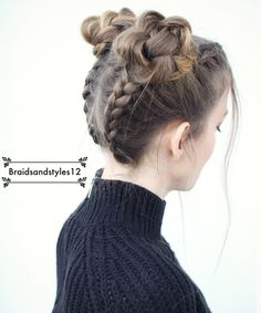 Upside Down Braided Pigtails into Braided Space Buns  by Braidsandstyles12. Tutorial : https://www.youtube.com/watch?v=pNPd4OF4MmM