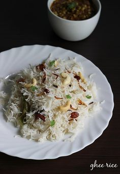 Ghee rice recipe with video - an easy to make delicious flavorful ghee rice with kurma or chicken curry from south indian cuisine Tasty Vegetarian Recipes, Veg Recipes, Curry Recipes, Indian Food Recipes, Cooking Recipes, Appetiser Recipes, Cooking Pork, Recipies, Ghee Rice Recipe