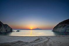 Halkidiki, Sykia - Sunrise in Athos, Paralia Sykias, Kentriki Makedonia_ Greece Rio, Halkidiki Greece, Tourism Development, Places In Greece, Paradise On Earth, Greek Islands, Greece Travel, Beautiful Beaches, Tours