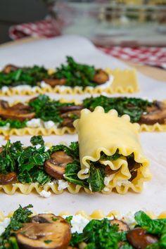 Mushroom and Kale Lasagna Roll Ups in Creamy Gorgonzola Cauliflower Sauce by Closet Cooking