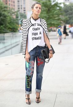 NYC Street style trends, patchwork denim, novelty tee, striped blazer, fashion girl