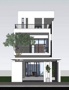 Super house front balcony dream homes ideas House Front Design, Small House Design, Modern House Design, Villa Design, Architecture Design, Minimalist House Design, Minimalist Interior, Minimalist Bedroom, Narrow House