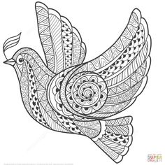 Illustration about Zentangle stylized floral Pigeon for Peace Day. Hand Drawn Dove of peace vector illustration. Illustration of nature, illustration, black - 63051825 Bird Coloring Pages, Mandala Coloring Pages, Free Printable Coloring Pages, Adult Coloring Pages, Images Of Peace, Peace Pictures, Zentangle Drawings, Zentangle Patterns, Zentangles