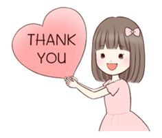 Little girl by Yukiko Ogawa sticker Thank You Qoutes, Thank You Gifs, Thank You Images, Love Cartoon Couple, Cute Love Cartoons, Cute Cartoon, Thanks Gif, Thanks Card, Cool Powerpoint Backgrounds