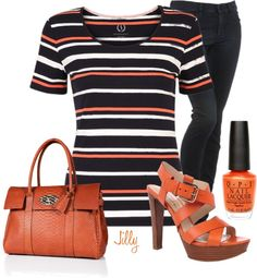 """""""Black and Orange"""" by jillgrimm ❤ liked on Polyvore"""