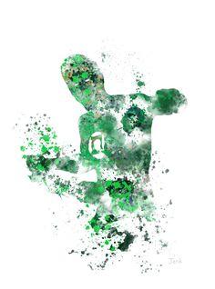 Ilustración de la impresión del arte de linterna verde, superhéroe, decoración casera, arte de la pared, Marvel