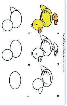 Learn to draw a duck / Apprendre à dessiner un canard                                                                                                                                                                                 Plus