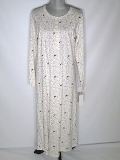 Charter Club Petite Small Gown Ivory Cardinals Long Sleeve Cotton Knit PET/SM #CharterClub #Gowns