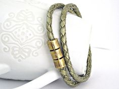 Double wrap cedar green braided leather bracelet with magnetic clasp