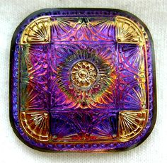 LG Czech Glass Button - Square Purple & Blue Mirror Back Floral w/ Gold Luster.