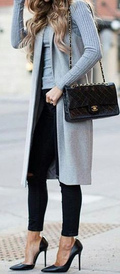 #streetstyle #spring2016 #inspiration |Grey And Black Perfect Style